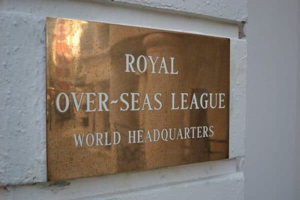 Royal Over-Seas League sign